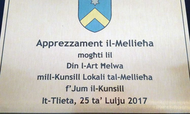 Din l-Art Helwa recognition Mellieha Local Council